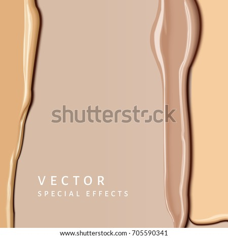 Foundation smear texture, close up look at different complexion tone cream for cosmetic use in 3d illustration