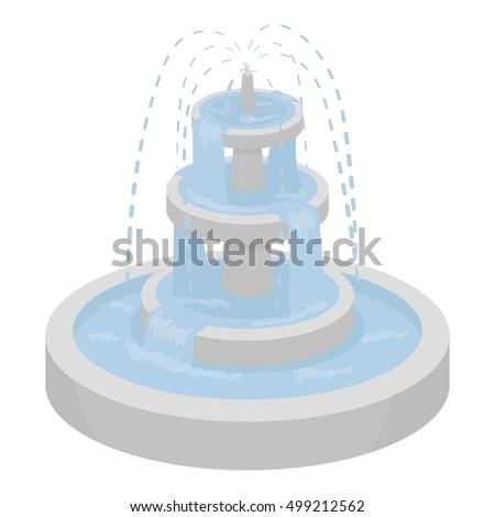 fountain icon in cartoon style