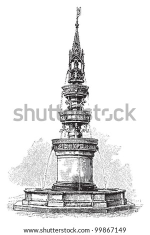 Fountain in Braunschweig (Germany) / vintage illustration from Meyers Konversations-Lexikon 1897