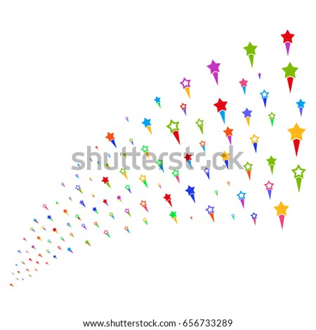 Fountain Of Confetti Stars Icons Vector Illustration Style Is Flat