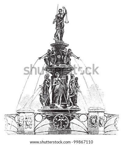 Fountain of Virtue in Nuremberg (Germany) / vintage illustration from Meyers Konversations-Lexikon 1897