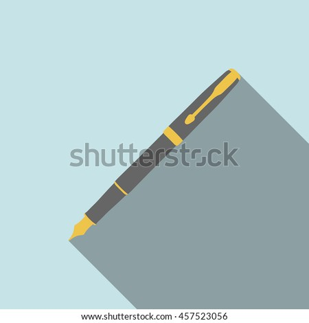 fountain pen icon. vector pen illustration. Fountain pen symbol. flat design with soft long shadow.