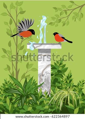fountain with birds