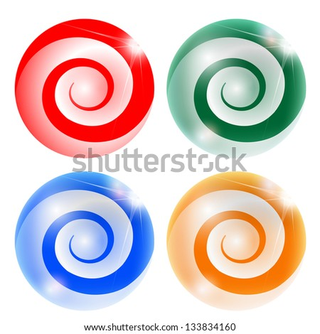 four abstract ball with spiral