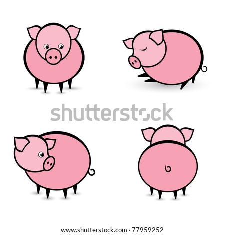 Four abstract pigs in different positions. Illustration on white background
