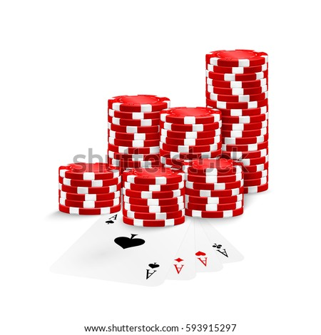 four aces and red poker chips