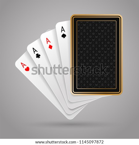 Four aces in five playing card with black back design on grey background. Winning poker hand
