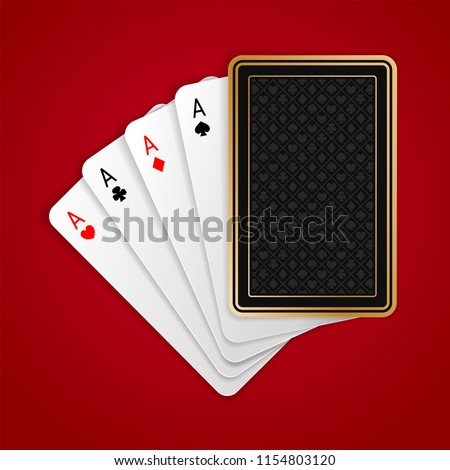 Four aces in five playing card with black back design on red background. Winning poker hand