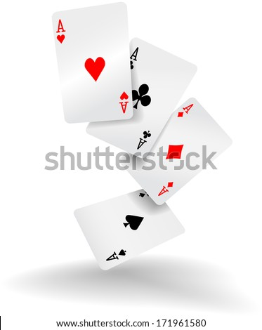 Four aces of diamonds clubs spades and hearts fall or fly as poker playing cards