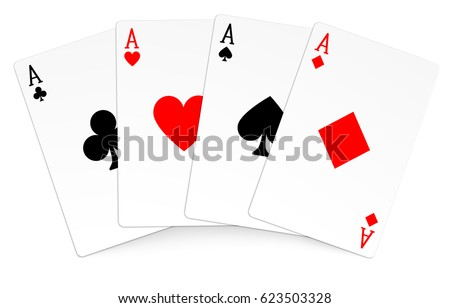Four aces playing cards poker winner hand ストックフォト ©