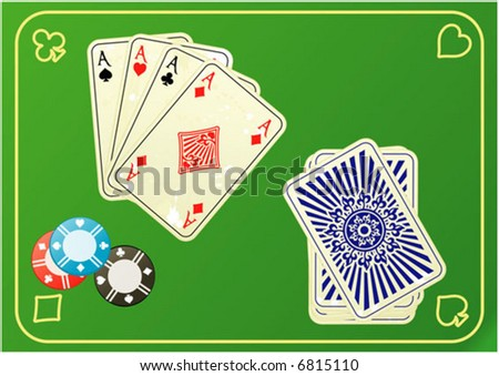 Four aces with chip on mats poker