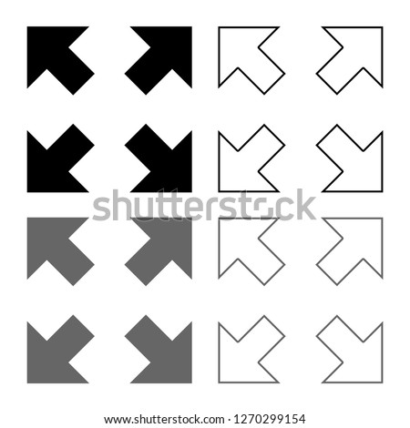 Four arrows pointing to different directions from the center icon outline set grey black color