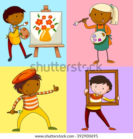 four artists painting picture