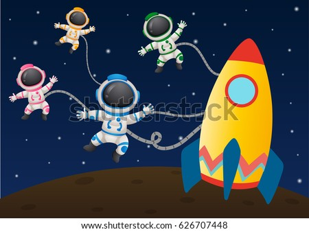 four astronaunts flying in