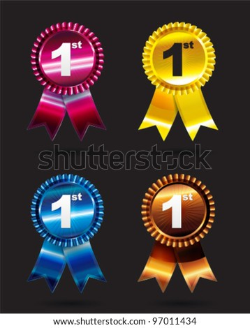 Four award ribbon with colour options