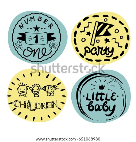 four baby logo with handwriting