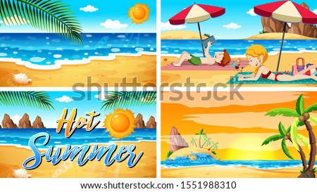 four background scenes with