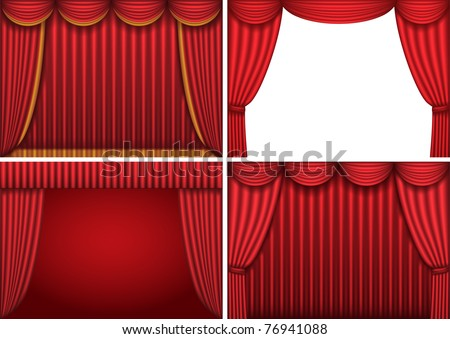Four backgrounds with red theater curtains. Vector illustration.