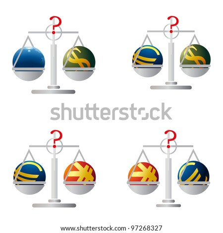 Four balances with symbols of Euro, US Dollar, Yuan and Earth