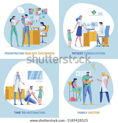 Four Banners, Depicting Family and Primary Care Physicians at Work. Healthy Childhood. Consulting Patients. Time for Vaccination. Family Doctor. Landing Page Template with Copy Space for Your Text.