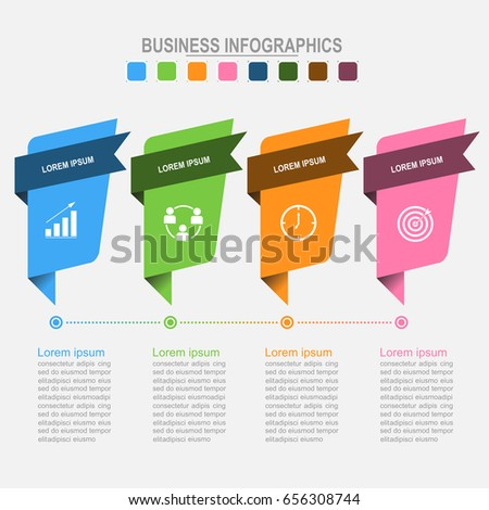 Four banners for infographics, business concept, template for your designs, flat design concept vector