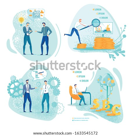 Four Banners Set with Copy Space. Colleagues Discussing Complicated Task, Looking Like Maze. Office Worker Looking for Solution with Magnifying Glass. Writing CV. Enjoying Stock Investment Fruits. Stock photo ©