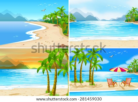 four beach scenes in different