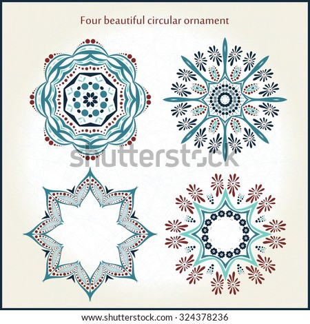 Four beautiful circular ornament. Mandala. Vintage decorative elements. Islam, Arabic, Indian, ottoman motifs. Set of beautiful ethnic, oriental ornaments. Stylized flowers.