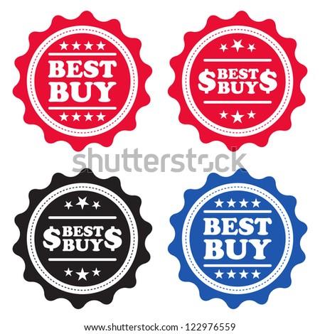 Four Best Buy retail labels.