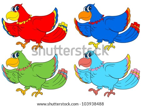 Four birds in different colours