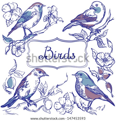 four birds with decor elements
