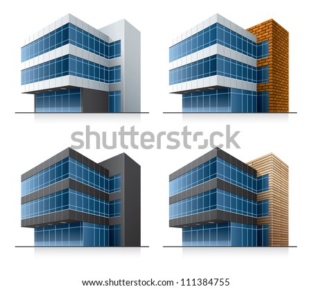 Four black and white office vector buildings in perspective view with blue glass facade in cartoon style.