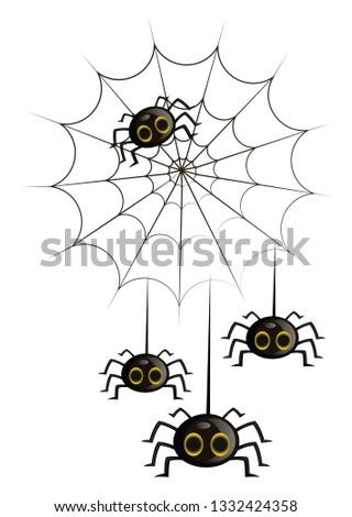 four black cute cartoon spiders