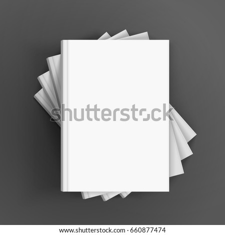 four blank white books stacking in helical shape, can be used as design element, isolated dark gray background, 3d illustration  #660877474