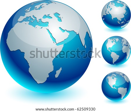 four blue high detailed earth