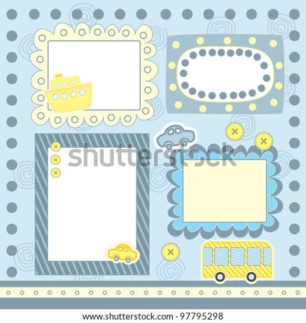 four blue scrapbook frames