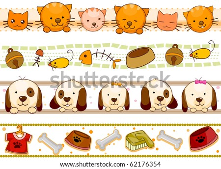 Four Border Designs of Pets and Other Related Items - Vector
