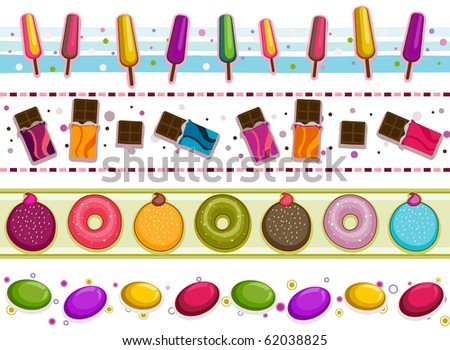 Four Border Designs of Various Sweets and Desserts - Vector - stock vector