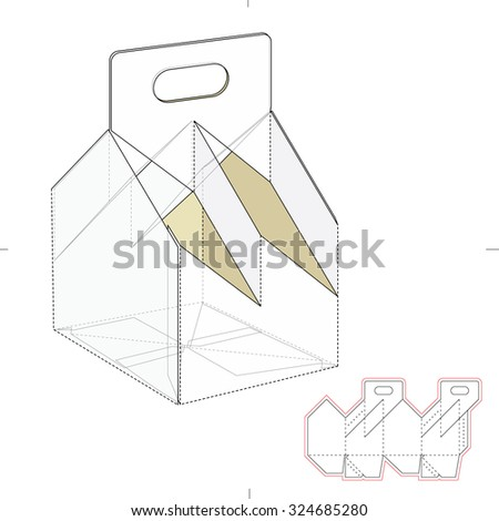 Four bottle carrier box with die cut template stock vector for Six pack carrier template