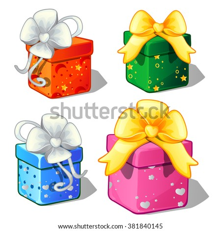 four boxes with gifts tied with