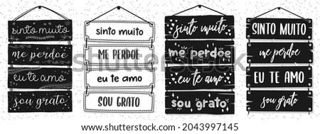 Four Brazilian Portuguese Pallet Lettering. Translation: 'I am really sorry' 'Forgive me' 'I love you' 'I'm grateful' Photo stock ©