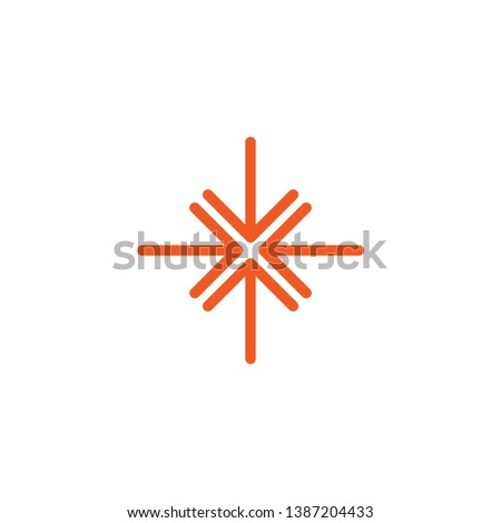 four bred thin arrows point to the center. Triple Collide Arrows icon. Merge Directions icon. Vector illustration. Isolated on white.
