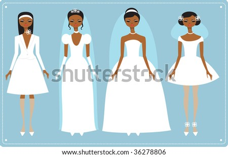 Four brides wearing  fashionable wedding dresses - stock vector