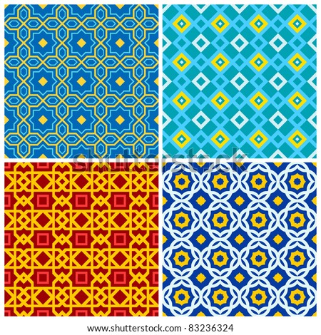 Four bright, colorful seamless geometric patterns