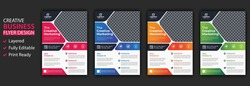 Four business brochure flyer design layout template A4, blur background, Template vector design for Magazine, Poster, Corporate Presentation, Portfolio, Flyer infographic, layout modern in orange pink