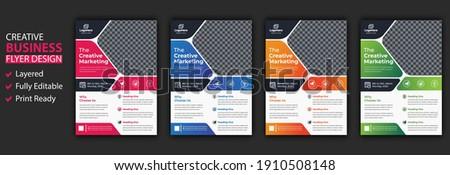 Four business brochure flyer design layout template A4, blur background, Template vector design for Magazine, Poster, Corporate Presentation, Portfolio, Flyer infographic, layout modern in orange pink