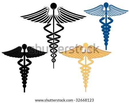 Four caduceus symbols