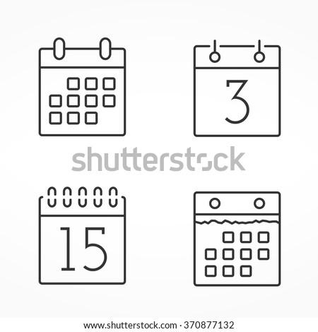 four calendar line icons ...