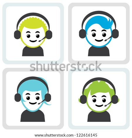 Four call center assistants with headset.