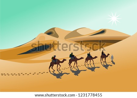 four camel riders are hiking in